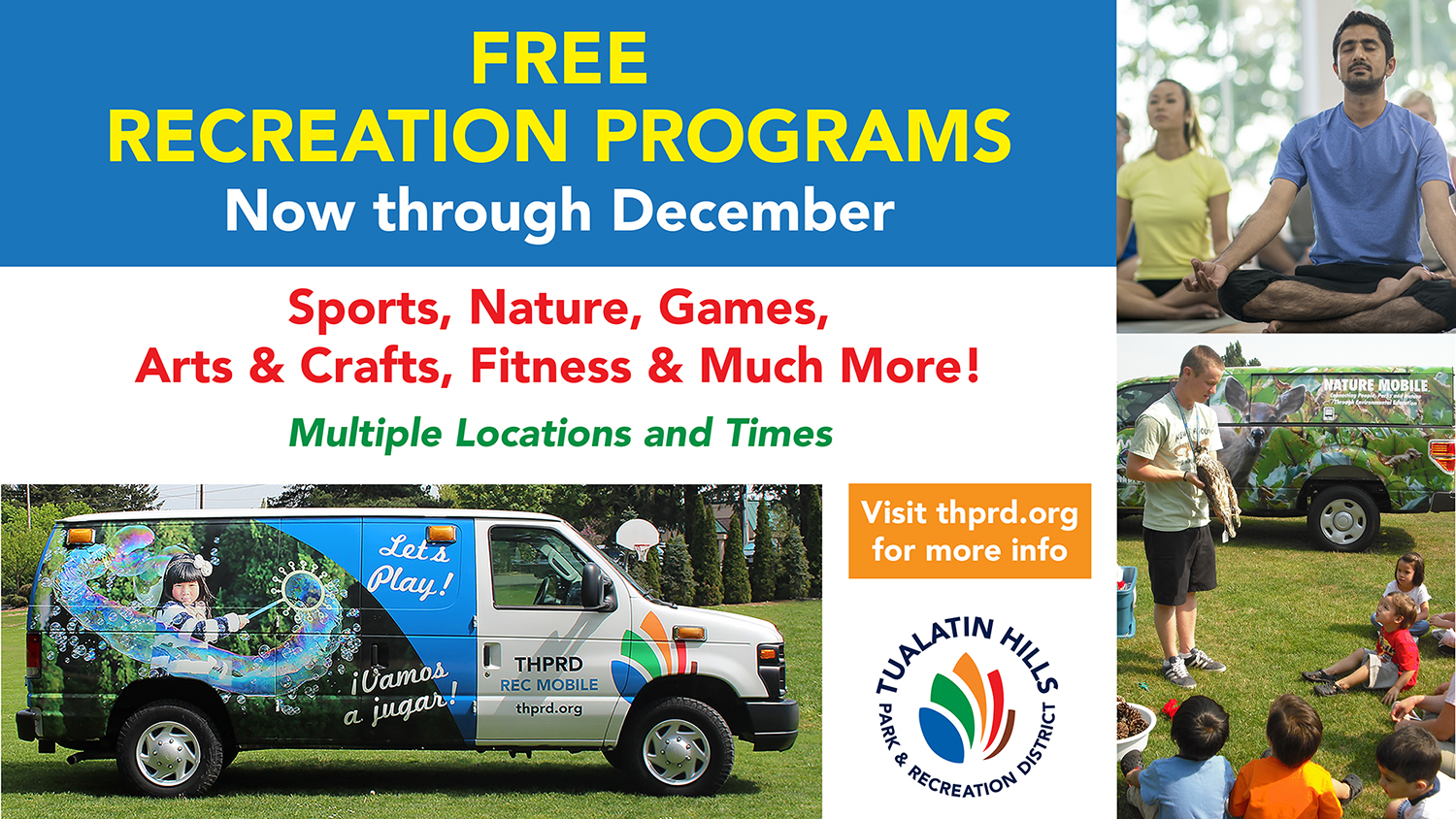 FREE Rec Programs - Multiple times & locations
